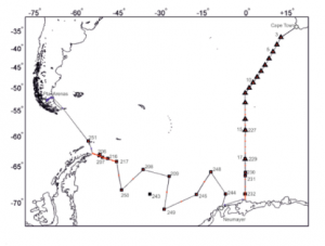 The Planned cruise track for the SIPES expedition.
